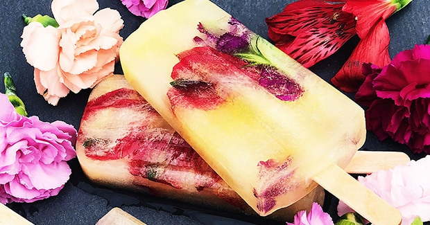 Mango Ice Pops with Edible Flowers