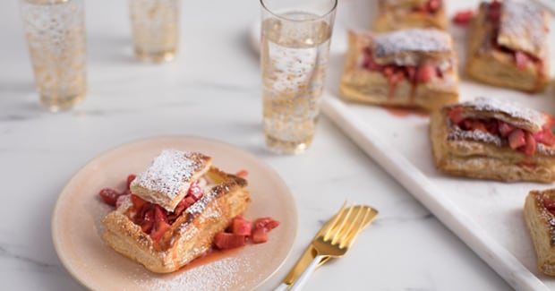 Strawberry Rhubarb and Creme Fraiche Tarts
