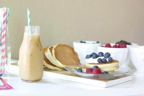 Fluffy Blueberry Pancakes & Easy Iced Coffee
