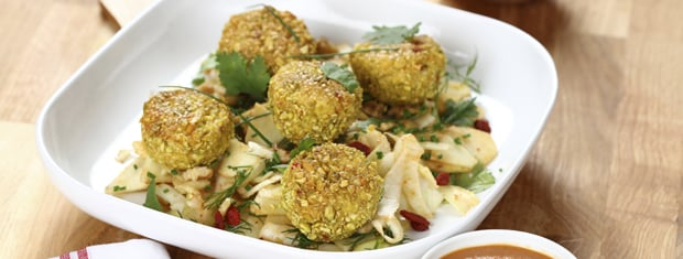Healthy oven baked chicken meatballs with fennel slaw