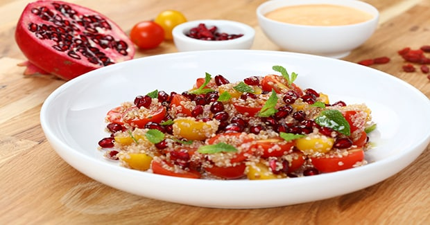 Quinoa Salad with Goat Cheese & Pomegranate Dressing