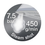 High steam pressure and extra steam shot for optimum performance