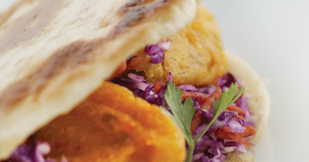 Sweet potato falafels with coleslaw (Marc Fosh)