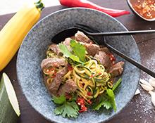 Spicy zucchini noodles with steak - small