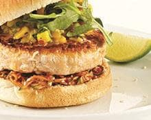 Salmon Burger with Mango Cilantro Salsa
