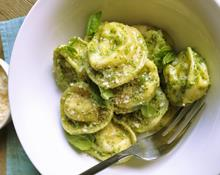 Tortellini with Prosciutto, Parmesan and Smoked Gouda with Arugula Pesto