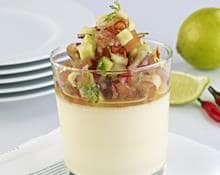 Mozzarella mousse with tomato, cucumber and cilantro salsa