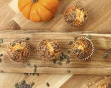 Pumpkin, orange & chia seed muffins