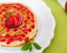 Whole Wheat Waffles with Strawberry Sauce