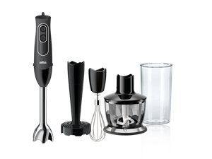Braun MultiQuick 5 Immersion Hand Blender - Patented Technology - Powerful 350 Watt - Dual Speed - Includes Beaker, Whisk, 2-Cup Chopper, Masher -  - MQ537BK