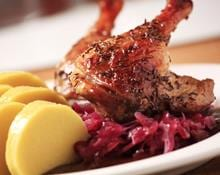 Roast leg of duck with red cabbage and potato sauce