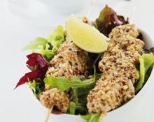 Dukkah chicken skewers (Marc Fosh)