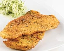 Lemon herb crusted turkey schnitzels (Marc Fosh)
