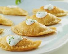 Pierogi with potato and cream cheese filling