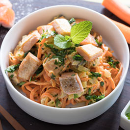 Carrot Noodles with Salmon and Cream Cheese Sauce