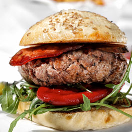 Spanish style pork burger with Chorizo and Piquillo peppers