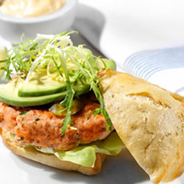 Swedish style salmon and dill burger with avocado and lime mayonnaise