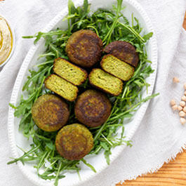 Green herb falafel with hummus