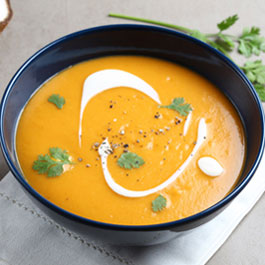 Red curried sweet potato soup with coconut milk