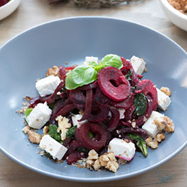 Beetroot Noodle with Feta, Walnuts and Spinach
