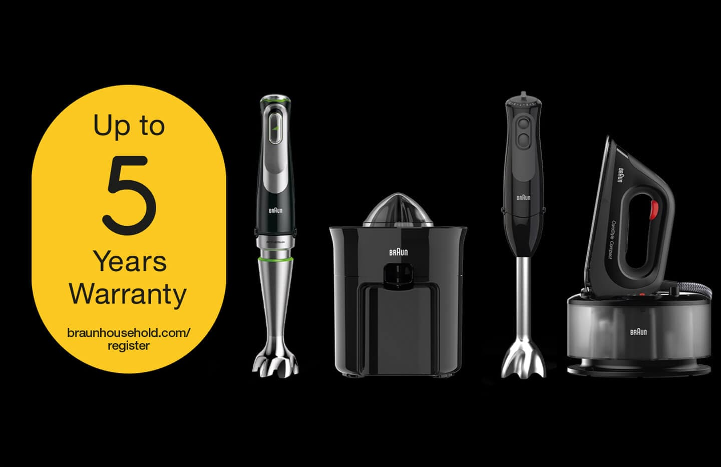 Braun 100 years – Built To Last. Up to 5 years garantie
