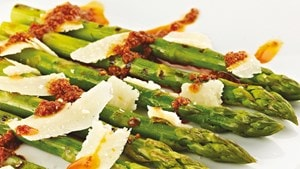 Gently steamed asparagus with mojo picon and shaved manchego