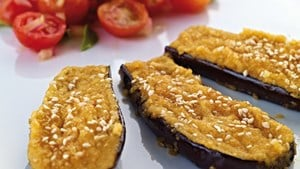 Aubergine and houmous grills