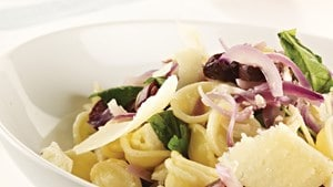 Caramelised red onion and feta cheese pasta (Marc Fosh)